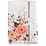 tinxi®Kunstleder Tasche für Samsung Galaxy S5 / S5 NEO Schutzhülle Flipcase Schale Cover Etui Skin Standfunktion mit Karten Slot orangenfarbige Blume