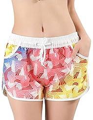 YueLian Amantes Verano Casual Hacer Surf Orilla del Mar Noviazgo Pairlook Pantalones Cortos de Playa Shorts (Talla 36, Mujer)