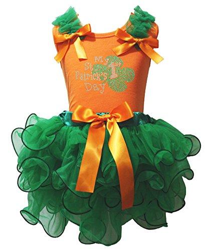 My 1st ST PATRICK Tag Kleid Orange Baumwolle Shirt Kelly Green Blütenblatt Rock Set-74bis 122 Gr. 4-5 Jahre, grün