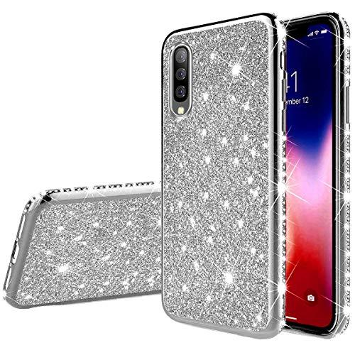 Herbests Kompatibel mit Samsung Galaxy A50 Hülle Bling Überzug Glänzend Strass Diamant Handyhülle Silikon Hülle Case Durchsichtig Schutzhülle Transparent TPU Ultradünn Handytasche,Silber