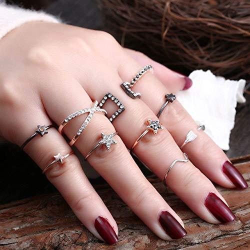 Liplh anello con incisione a corona di fiori a forma di cuore rosa set di gioielli femminili in oro e argento con dita articolate in cristallo dorato, 3235