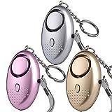 Taschenalarm - 140 dB Persönlicher Alarm mit Taschenlampe Schlüsselanhänger, Panikalarm Selbstverteidigung Sirene für Frauen Kinder (3 Stück)