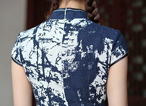 Yue Lian Damen Qipao Cheongsam Abstrakt Muster Chinesisch Minikleid Abendkleid Traditionell Kostüm Vitage Marineblau