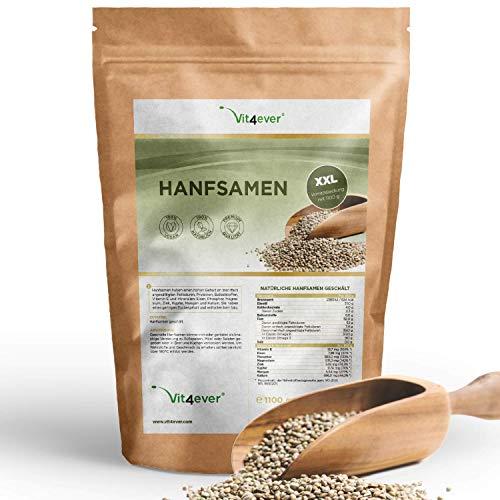 Vit4ever® Hanfsamen geschält - 1100 g (1,1 kg) - Laborgeprüft - Natürliche Protein Eiweißquelle - Herkunft Frankreich - Reich an Omega-3 Fettsäuren - 100% Hempseeds - Vegan - Superfood -