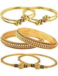 Jewels Galaxy Gold-Plated Bangle Set for Women/Girls Set of 6