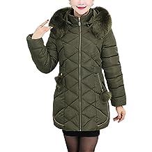 Mujeres de mediana edad Invierno Más grueso Chaqueta abajo de la capa encapuchada ligero Mantener caliente Outcoat Verde del ejército 2XL