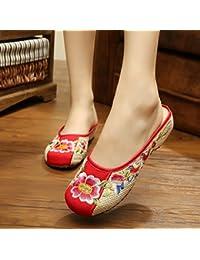 &HZOU Final de flores/lino/bordado/tendón/étnico bordado/zapatillas/mujeres/elegante/cómodo/hogar/tradicional chino , beige , 39