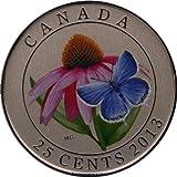 2013Kanada 25Cent Farbige Medaille Violett Echinacea und Eastern Tailed blau–Geschenkbox mit Zertifikat