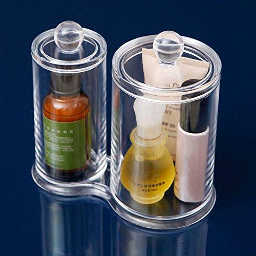 Hrph – transparente, runde Aufbewahrungsbehälter, Make-up, Abschmink-Pads, Pad-Box + Wattestäbchenbehälter aus Kunststoff