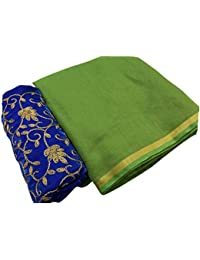 SilverStar Women's Green Color Chanderi Cotton Plain Sari With Blue Color Embroidery Work Designer Blouse Piece