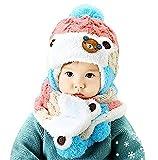 Awanna Unisex Strickmütze mit Schal 2 Stücke Set Haube Beanie Mütze für Baby Kinder (Rosa)