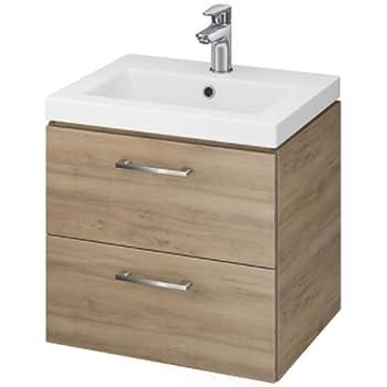 vbchome badm bel waschbecken mit unterschrank 50cm 2 schubladen nussbaum lara k che. Black Bedroom Furniture Sets. Home Design Ideas