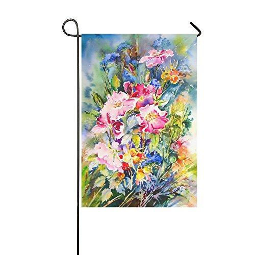 interestprint Ölgemälde wilden lange Polyester Garten Flagge Banner 30,5x 45,7cm, Spring Summer Floral Dekorative Flagge für Hochzeitstag Home Outdoor Garden Decor -