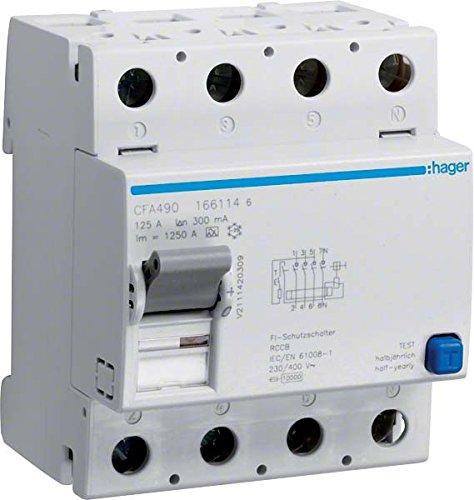 Price comparison product image Hager CFA490 FI-Schalter 4P 10kA 125A 300mA Typ A