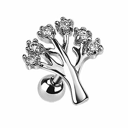 Piersando Tragus Helix Ohr Piercing Cartilage Knorpel Stab Stecker 316 L Chirurgenstahl Lebensbaum mit Strass Kristallen Silber Clear