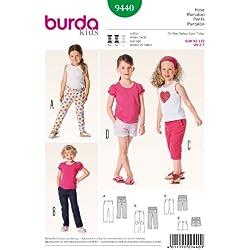 Burda 9440 per l'abbigliamento per bambini - modelli di cucito per cortometraggi, confezione e pantaloni integrali da: 2-7