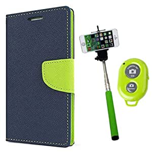 Aart Fancy Diary Card Wallet Flip Case Back Cover For HTC516 - (Blue) + Remote Aux Wired Fashionable Selfie Stick Compatible for all Mobiles Phones By Aart Store