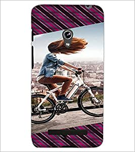 PrintDhaba Girl Bicycling D-3946 Back Case Cover for ASUS ZENFONE 5 A501CG (Multi-Coloured)