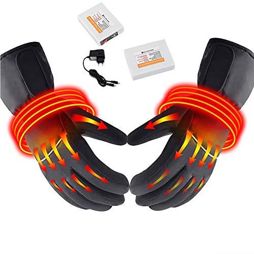Guanti riscaldati, tre guanti elettrici riscaldabili con batteria al litio a temperatura regolabile guanti riscaldanti-xl