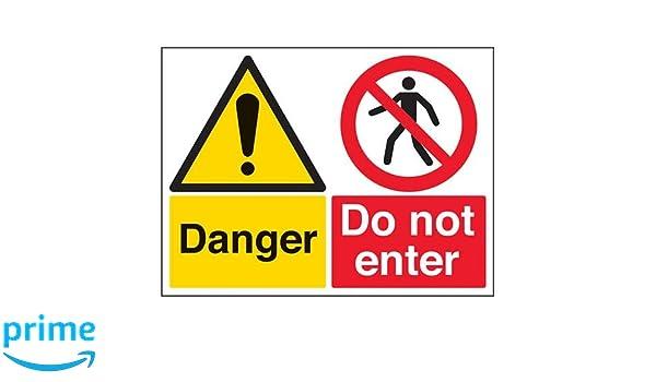 VSafety Multi Hazard Site Safety High Viz Warning Sign 300mm x 400mm Portrait Self Adhesive Vinyl