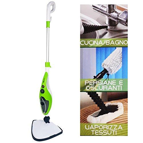Scopa a vapore stream mop h2o lavapavimenti mop 10 in 1 pulisce disinfetta + accessori 100 gradi fiseldem