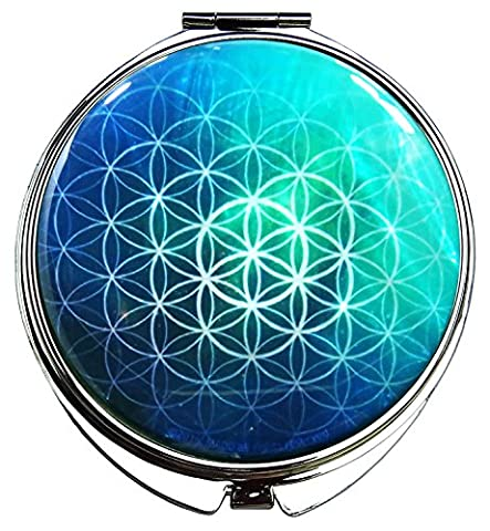 Flower of Life Emerald Green Compact Folding Makeup Mirror Mother of Pearl Metal Magnify