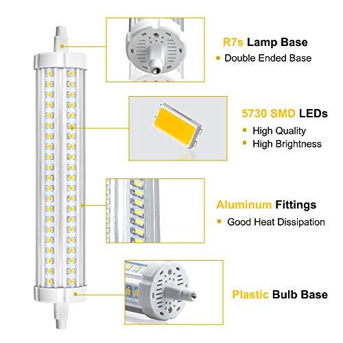 R7s Stableuchte 189mm 30W LED Strahler 3000Lumen 360°Abstrahlwinkel Warmweiß3000K 132Stück hoch Helligkeit LED Chips J Typ J189 Flutlicht Äquivalent zu 450W Halogenbirne(2 Stück Nicht Dimmbar)