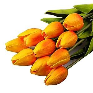 Xinantime Flores Artificiales,Xinan Flor Artificial del Tulipán Ramo Nupcial de la Boda (Amarillo)
