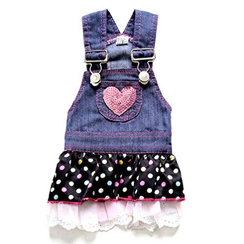 SELMAI Hund Kleid Prinzessin Denim Plissee Abgestuftes Outfits Rock Polka Dots Herz Paillettes Sommer, für Klein Hund Katze Puppy, XS, Denim-Blau - Dot Kleid Pudel