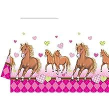"""'Mantel """"Caballo y diseño corazones color rosa Cumpleaños infantiles"""