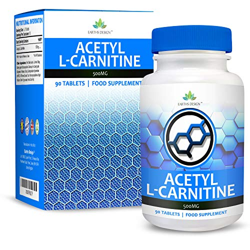 51Z1GOorf%2BL. SS500  - Earths Design Acetyl L-Carnitine - 500mg Carnitine - L Carnitine Amino Acid - Suitable for Vegetarians - 90 Tablet (3…