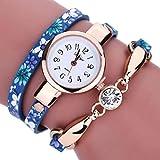 vovotrade La mujer Diamond envolver alrededor de Leatheroid muñeca reloj de cuarzo (Azul)
