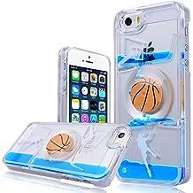 WE LOVE CASE iPhone 5 / 5s / SE Funda, Transparent Rígido Diseño Dura Cáscara Hard Case Bumper Cover, Cristal Ultra Delgado Cubierta de Protección Anti-Arañazos Funda para iPhone 5 iPhone 5S iPhone SE - Baloncesto