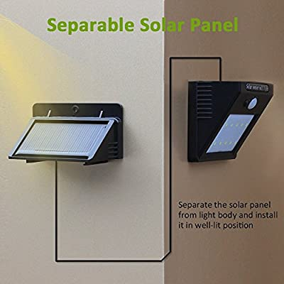 [Trennbarer Solar Panel] Solarleuchten für Indoor und Outdoor, Matone Bewegungs Sensor light 10 LED Wasserdichte Wetterfeste Solarlampe Intelligente Modi für Garten, Balkon, Lager, Außenwand