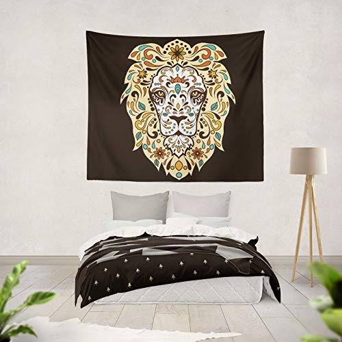 XURANFANG 3D Wasserdichte Wandteppich Löwenkopf Lichter Wandbehang Dekorative Wohnkultur, Löwenkopf Licht Dunkelbraun, Große