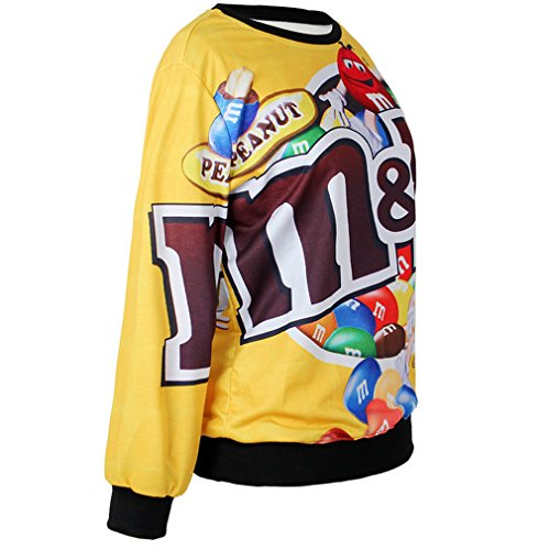 THENICE Women'Pullover Sweatershirts Digital Print - Colorful Chocolate beans