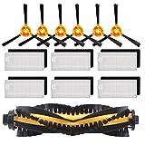 Piezas de Repuesto de vac/ío Pieza de Repuesto para ILIFE A4 Robot aspiradora Sweeper Robot Incluido 4 PCS Cepillo Lateral 1 PC Cepillo Principal Dkings Side Brush Kits 2 Filtro PCS