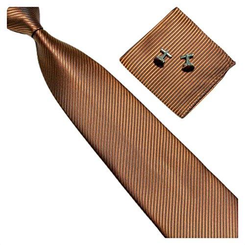 GASSANI 3-SET Braune Krawatte Streifen gestreift | Binder Hell-Braun Manschettenknöpfe Einstecktuch | Krawattenset zum Anzug Seide-Optik