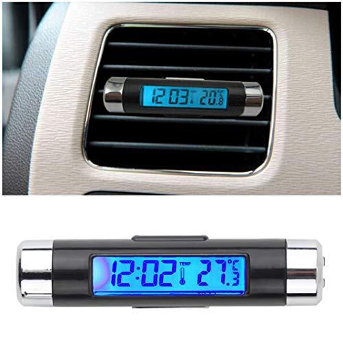jEZmiSy, Thermometer, Detektor, Auto-LCD-Clip-on-Digital-Hintergrundbeleuchtung Automobiluhr Kalenderanzeige für Zuhause, Party und Küche Clip-on-thermometer