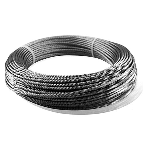 Seilwerk STANKE 70 m Cuerda de Acero Inoxidable 4 mm 7x7 Cuerda de Acero Inox V4A A4 Cuerda Acero Noble