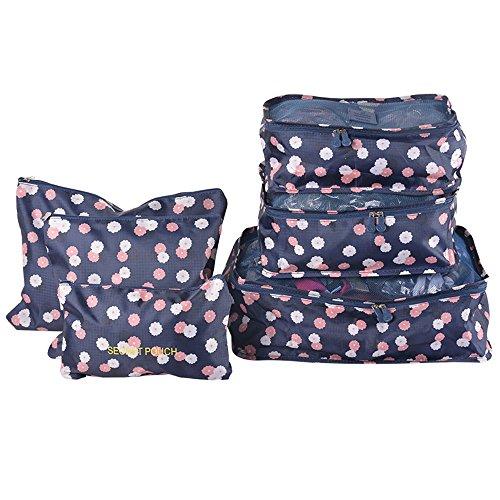 urijk 11estilo Juego de 6Organizador para Viaje Maletas, Packing Cubes Compresión Impermeable bolsas organizzatori Equipaje para ropa zapatos toalla lavanderie Fiore