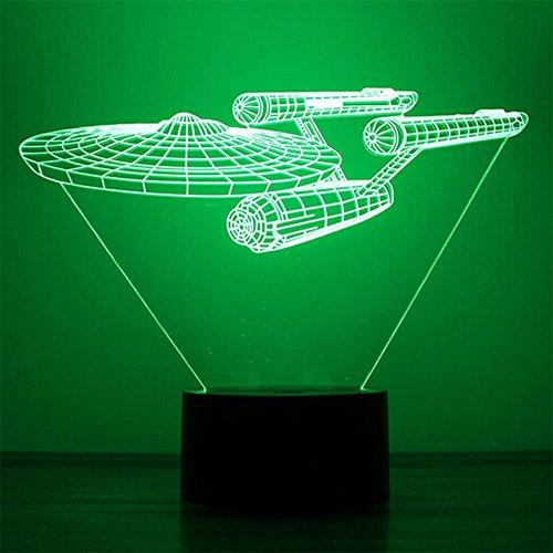 Lampe de bureau - Avec design de navette spatiale en illusion d'optique 3D - 7 couleurs - Bouton de changement de couleurs - USB - Veilleuse - Effet de visualisation unique - Sculpture lumineuse - Art, Acrylique, Space Ship, 7.4*5.7inch