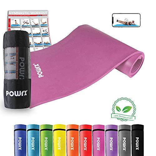 POWRX Gymnastikmatte Trainingsmatte Pilatesmatte Yogamatte Phthalatfrei 190 x 60 x 1.5 cm oder 190 x 100 x 1.5 cm inkl. Trageband (Pink, 190 x 100 x 1,5 cm)