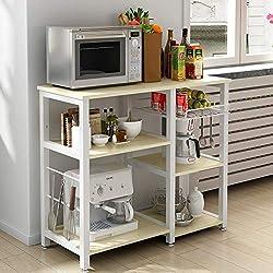 DlandHome Étagère de Cuisine Polyvalent pour Four à Micro-ondes/Support pour Machine à café avec Panier de rangement pour fruits et crochets pour ustensiles de cuisine, Érable