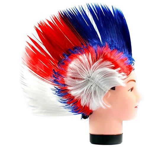 arty Kostüm Karneval Fasching Perücke Haare Blau Rot Weiß (Glam Punk Kostüm)