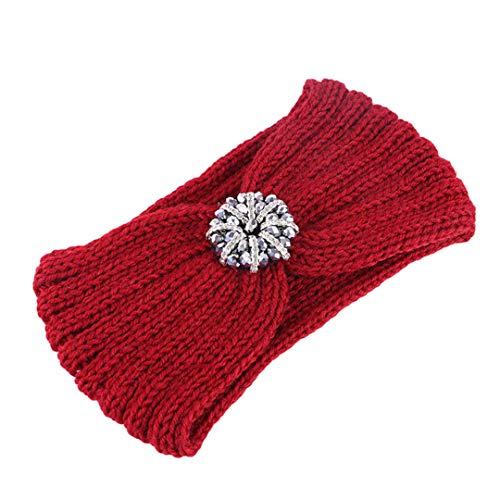 Herbst Winter Stirnband für Frauen Haarschmuck Vintage Strass Haarband Knoten Stirnbänder Burgundy Headbands -