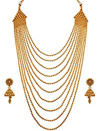 JFL - Traditional And Ethnic One Gram Gold Plated Multi Strands Round Gold Bead Necklace With Jhumka Earrings...