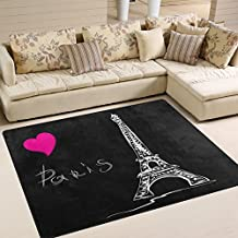 Use7 Amour Cœur Dessin animé Paris Tour Eiffel Noir Zone Tapis Tapis Tapis  pour Le Salon 0b49237a2a49