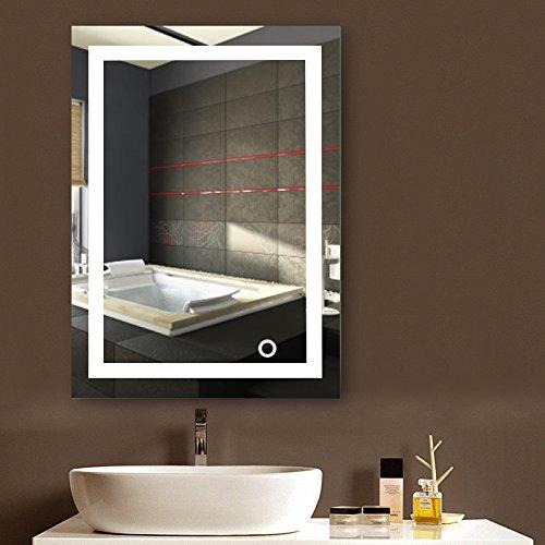 POPSPARK Specchio per Il Trucco a Parete con Specchio a Parete LED per Bagno a LED Nuovo Pulsante (50 x 70 cm, Bianco Freddo)