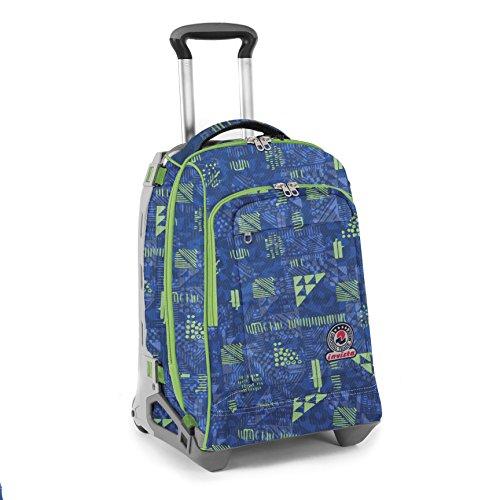Trolley invicta tech + cartellina a4 - triangle - blu verde - zaino sganciabile - 34 lt scuola e viaggio
